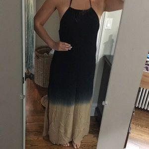 Two toned halter maxi dress